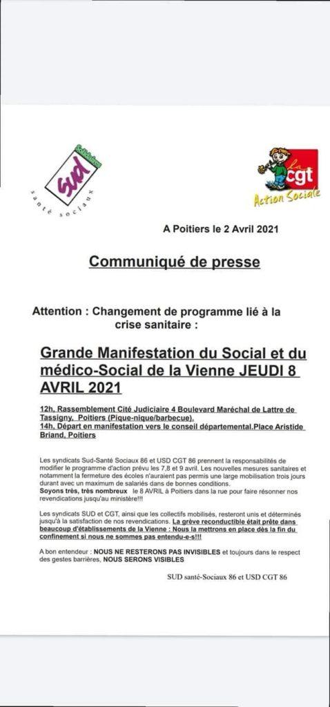 Communiqué de presse - Jour noir du social et médico social 08/04/2021